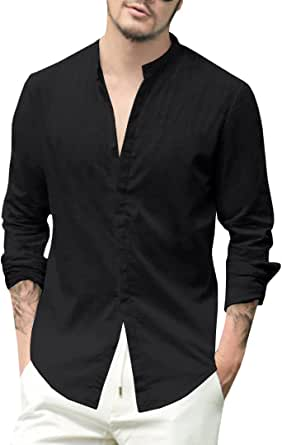 Gemijacka Mens Linen Shirts Long Sleeve Button Down Cotton Summer Casual Loose Fit Tops