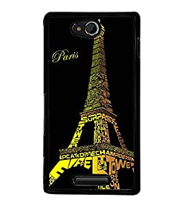 Eiffel Tower 2D Hard Polycarbonate Designer Back Case Cover for Sony Xperia C :: Sony Xperia C HSPA+ C2305