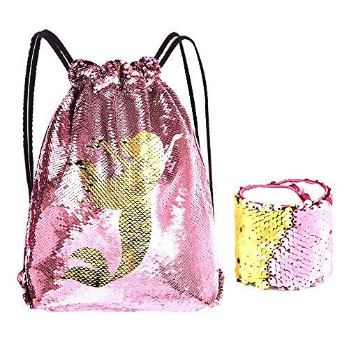 KUUQA Pailletten Meerjungfrau Kordelzug Rucksack Tasche mit Armband Armband, Magic Reversible Pailletten Glitter Wandern Gym Schultertasche Birthday Party Favors Geschenke (2 Stück)