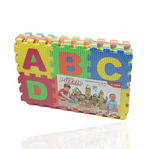 Kinder Puzzle Matte Buchstaben und Zahlen Puzzlematte klein (36 Bausteine) - Spielteppich - Schaumstoff Teppich Spielzeug zum kreativen Lernen Buchstaben Teppich