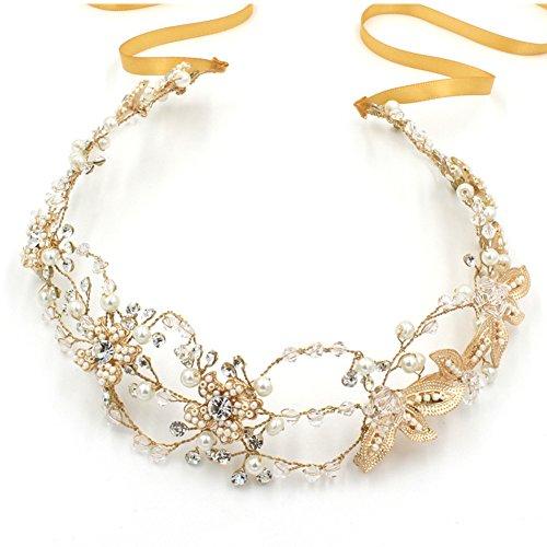 LI&HI Damen Vintage Exklusive elegant Kristall Strass Brauthaarband Haarbänder Stirnband Haarreif Haarschmuck Hochzeit