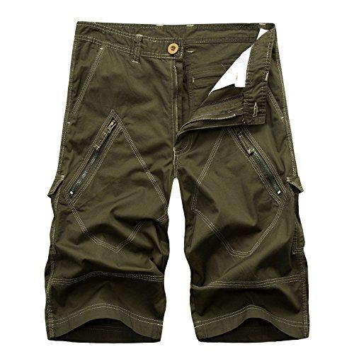 AYG Herren Cargo Shorts Bermudas Schwarz Baumwolle Shorts(army green,38)
