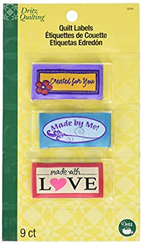 Dritz Polyester Quilting Sew-In Embroidered Labels 9/Pkg-Made With Love