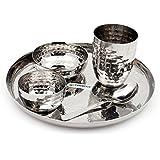 Coconut Stainless Steel Hammered Dinner Set Of 5 - 1 Dinner Plate (10 Inch ) , 1 Snaks Plate (4 Inch ) , 1 Bowl (150 Ml ) , 1 Glass ( 250 Ml ) (approx.) , 1 Tea Spoon - Hammered , Stainless Steel