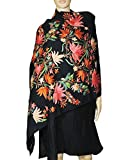 Beautiful floral embroidery black stole/...