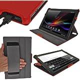 igadgitz Rojo Funda Eco-Piel para Sony Xperia Z LTE Tablet Android Tablet. Con función Reposo /Activación y correa elástica integrada
