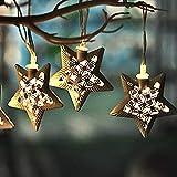 Valery Madelyn 1,3M 6er LED Lichterketten Weihnachtsdekoration Metall Weihnachtsdeko Sterne Funkelnder Winter Thema Batteriebetriebene Weihnachten Beleuchtung für Weihnachtsbaum - Champagner Gold