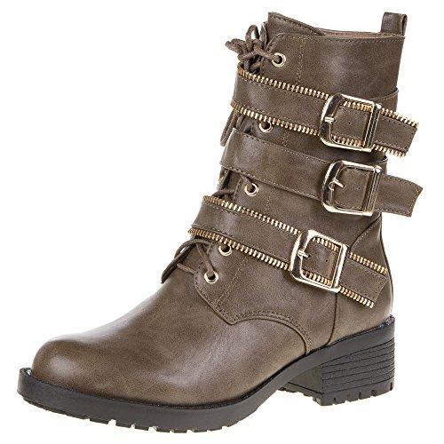 Damen Schuhe, A245, STIEFELETTEN Braun A245