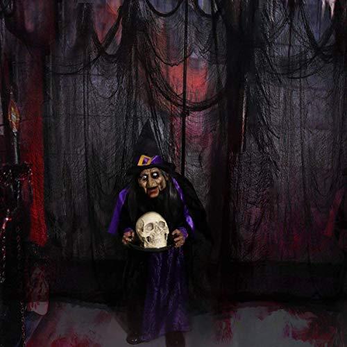 Schwarz Gruselige Tuch, Gruselige Halloween-Dekorationen, Halloween Spukhaus Party Dekoration Türöffnungen im Freien liefert, 315 '' X 79 ''