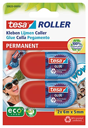 2x tesa Mini Kleberoller, permanent, ecoLogo 6m:5mm
