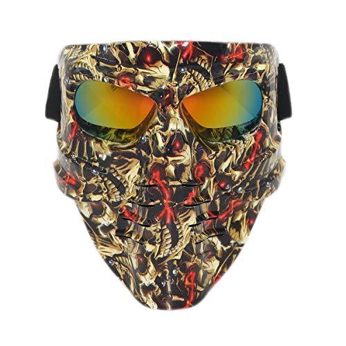 Vhccirt - Máscara de Paintball, Airsoft, Moto o esquí, máscara de Pesca, para Hombre, Calamar, decoración de Halloween, Lentes polarizadas, ArcoirisDemonio