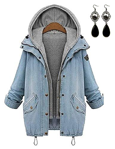 Sitengle Damen Jeansjacke Denim Winterjacke Blazer Langarmshirt 2 in 1 Kurzjacke Freizeit Blusen Oberteil Strickjacke Jäckchen Tops Mäntel Outwear Mit Zipper (blau, Gr. L)