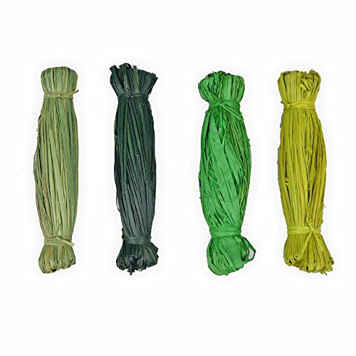 Bast Sortiment 4 x 15gr grün Töne Naturbast zum basteln Top Qualität