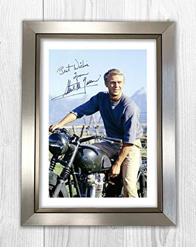 Engravia Digital Steve McQueen (4) The Great Escape Reproduktion Autogramm Poster Foto A4 Druck Silver Frame