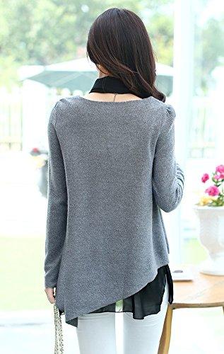Angcoco Frauen Mode Lange Armel Teilen Faux 2-piece Mesh Geschnittenen Kleid Grey