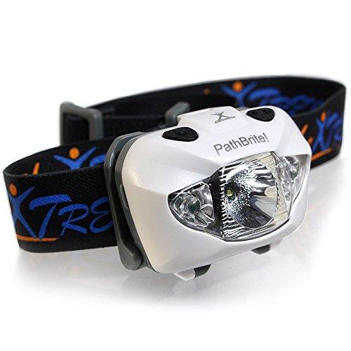 PathBrite™ LED Stirnlampe – Geeignet fürs Campen, Heimwerken, Laufen und für die Jagd. IR-Kontrollsensor durch Handbewegung, weiße/rote Beleuchtungseinstellung, Notfall Blinker – super hell, leicht, wasserdicht. Kostenlose Batterien und Tasche. Lebenslange Garantie (Weiß)