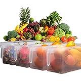Kretix Plastic Storage Containers Square Handle Food Storage Organizer Boxes With Lids For Refrigerator Fridge Cabinet Desk 1Pcs