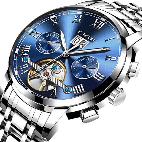 Uhren für Männer,LIGE Luxus marke Automatische Mechanische Uhr Edelstahl Wasserdicht Datum Mode lässig Skelett Tourbillon Armbanduhren Silber blau