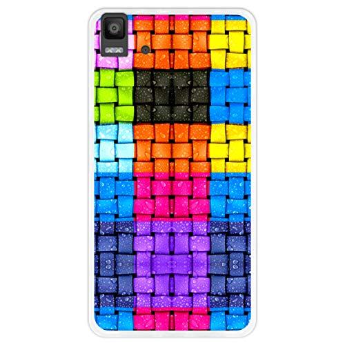 Hapdey silikon Hülle für [Bq Aquaris E5s - E5 4G] mit gestempelt, Design [Farbige Quadrate mit Wassertropfen] Farbe [Transparenz] Smartphone, Foto