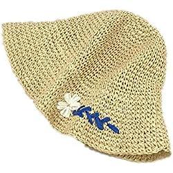 Lywljg Margarita pequeña de Ganchillo Hecho a Mano Sombrero Bordado Sombrero de Paja niños Verano Pescador Plegable Sombrero Gorra Visera 57cm