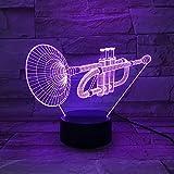 Kornett usb 3d led nachtlicht multicolor rgb jungen kind kinder baby geschenke musikinstrument atmosphäre tischlampe nacht neon