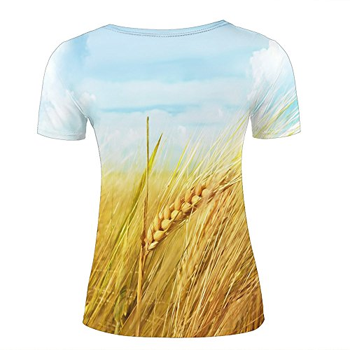 ouzhouxijia Mens T-Shirts 3D Printed Wheat Spikes Graphic Couple Tees D
