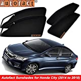 #10: Autofact Magnetic Window Sunshades/Curtains for Honda City Idtec/Ivtec (2014 to 2018) [Set of 4pc - Front 2pc With Zipper ; Rear 2pc Without Zipper] (Black)