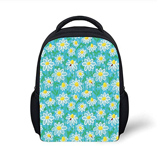 Aqua Blossom (Kids School Backpack Yellow and Blue,Meadow Art Pattern with Ladybirds and Chamomile Daisy Blossoms,Aqua White Marigold Plain Bookbag Travel Daypack)