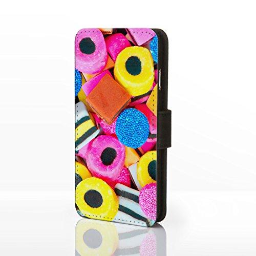 Sweet Shop Collection Schutzhülle zum Aufklappen, aus Kunstleder, für iPhone-Modelle Motiv: Süßigkeiten, klassisches Vintage-Design; Schokolade, Kekse & Eis, Kunstleder, Design 16: Pink Wafer, iPhone  Design 2: Liquorice Allsorts