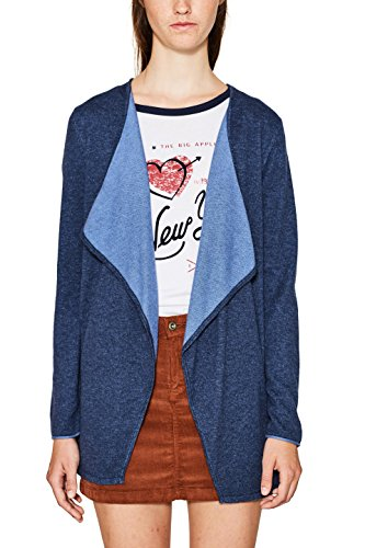 edc by ESPRIT Damen Strickjacke 097CC1I056, Blau (Grey Blue 420), Medium