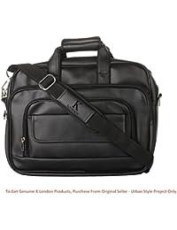 K London Black Artificial Leather Handmade Men Laptop Bag Cross Over Shoulder Messenger Bag Office Bag (1102_Black)
