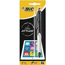 BIC 4-Farb-Druckkugelschreiber 4 Colours Grip Stylus / Mehrfarben Kugelschreiber in schwarz, rot, blau und grün / Mit Touchpen-Funktion für Tablet und Handy / 1er Pack