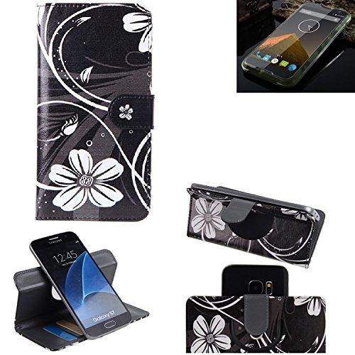 K-S-Trade Schutzhülle für Blackview BV 5000 Hülle 360° Wallet Case Schutz Hülle ''Flowers'' Smartphone Flip Cover Flipstyle Tasche Handyhülle schwarz-weiß 1x