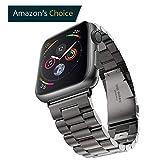 Evershop 42mm Apple Watch Armband für Apple Watch 4 3 2 1, iWatch Armband Edelstahl Uhrenarmband Armband Wiedereinbau Metallhaken für iWatch Alle Modelle(Schwarz)