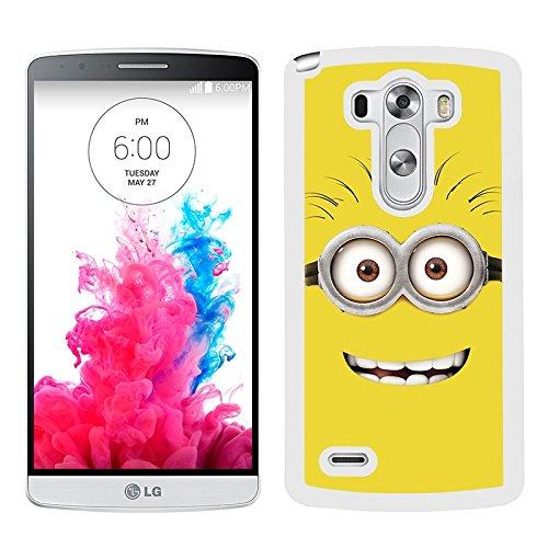 Funda carcasa para LG G3 dibujo cara minion fondo amarillo borde blanco