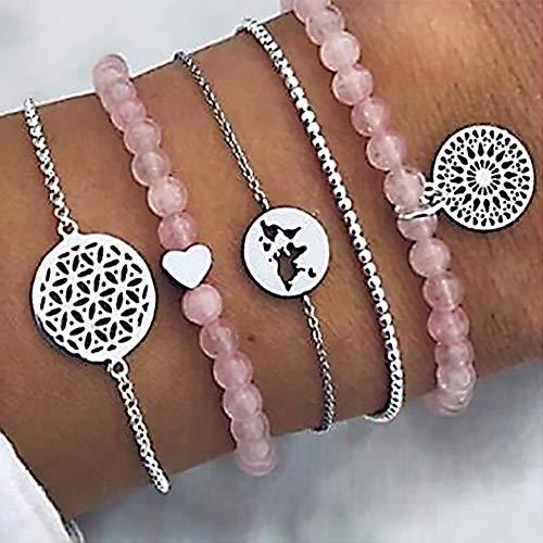 5 Teile/Satz Böhmischen Rosa Perlen Herz Dream Catcher Karte Kette Anhänger Multilayer Silber Armband Set Weibliche Mode Geburtstagsgeschenk ()