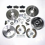 Bremsscheiben Set belüftet vorne + Bremstrommel Set mit ABS-Ring hinten
