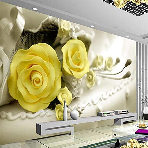Tapete,3D Tapete Moderne Gelbe Blumen Wandbild Wohnzimmer Restaurant Interior Design GemÜTliche Decor Tapete Rolle Papel De Parede Floral,250 * 175cm - Papier Gelben Hellen Die Platten