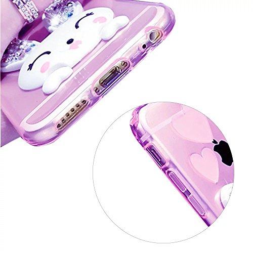 MOMDAD TPU Silicone Coque iPhone 6 Plus Souple Silicone Coque iPhone 6S Plus Absorption de Choc Coque de Protection en TPU pour iPhone 6 Plus Neuf Case iPhone 6 Plus Plating Housse Élégant Shell Télép Lapin-Purple