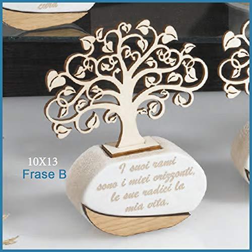 Bomboniere profumatore albero della vita matrimonio battesimo comunione cresima frase b - scatola + bigliettini da bomboniere + essenza inclusi