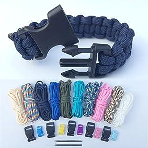 Bliqniq Paracord Armbänder Schnüre Set, 25er Prachute Cord Nylon Seil Fallschirmleine mit 11 Verschlüsse und 2 Nadel für Herren und Damen Survival Outdoor Armband und Hundehalsband