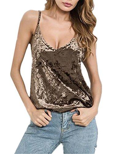 Aoliait Femme Débardeur Été Gilet Sexy Col V Bretelles Top Confortable Blouse Lache Sling Haut Fashion sans Manches Chemises Décolleté Café