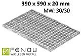 Fenau   Gitterrost/Baunorm-Rost Maße: 390 x 590 x 20 mm - MW: 30 mm / 30 mm (Vollbad-Feuerverzinkt) (Passend für Zarge: Fenau 400 x 600 x 23 mm) Industrie-Norm-Rost für Lichtschacht