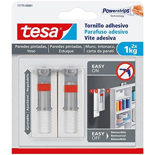 tesa 77775–00001–00–Schraube Wandtattoo verstellbar für Wandmalereien und Gips (1kg)