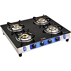 Suraksha Shine Crystal Stainless Steel Body with Toughened Glass Top 4 Tri Pin Brass Burner Gas Stoves.