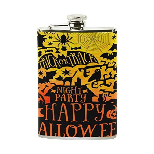 Tizorax Happy Halloween en acier inoxydable Flasque, poche Pichet, le camping, Pot de vin, cadeau pour homme ou femme, 226,8gram
