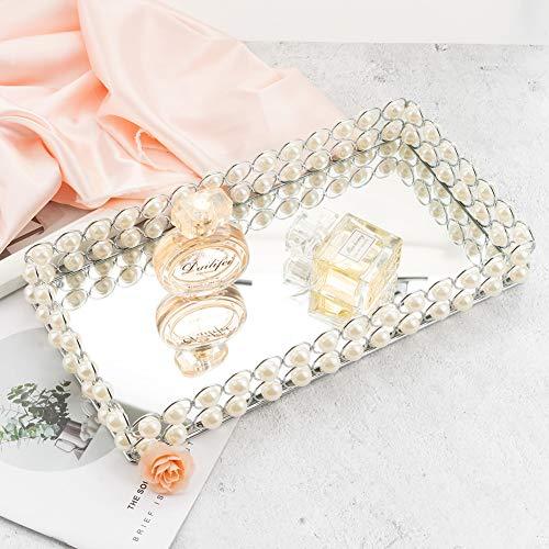 QILICHZ Glas-Tablett, modisches Perlenverspiegeltes Tablett aus Metall, dekoratives Tablett für Schminktablett für Schmuck, Parfüm, Badezimmer.