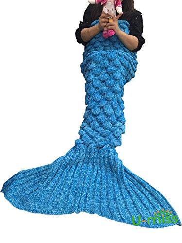 U-miss lana sirena coperta a coda a forma di sirena, utilizzabile come coperta per divano letto, adulti (180 * 90cm),blu-s