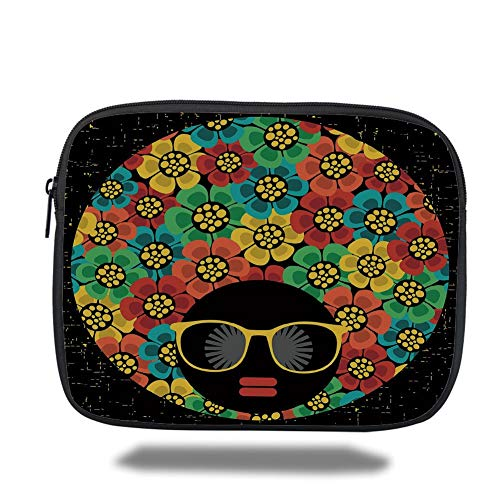 Laptop Sleeve Case,70s Party Decorations,Abstract Woman Portrait Hair Style with Flowers Sunglasses Lips Graphic Decorative,Multicolor,Tablet Bag for Ipad air 2/3/4/mini 9.7 inch