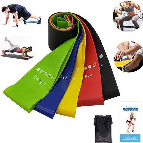 Xdsp elastiche fitness elastiche di resistenza di banda elastica set di 5 pezz, per fitness yoga crossfit, pilates, physiotherapy, allena gambe glutei
